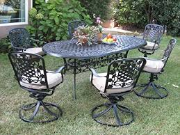 Patio Set With Swivel Chairs Amazon Com Outdoor Cast Aluminum Patio Furniture 7 Piece Dining