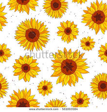 sunflower wrapping paper seamless vector pattern sunflowers on white stock vector 581003584