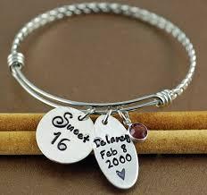 Personalized Bangle Bracelets Sweet 16 Bangle Bracelet Jewelry For Teen Personalized Bangle