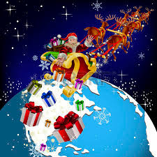 santa claus around the world santa delivers gifts on