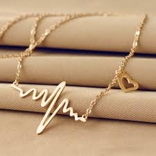 love drop necklace images 2017 trendy necklace glod electrocardiogram love necklace simple jpg