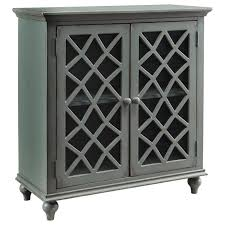accent cabinet with glass doors lattice glass door accent cabinet in antique gray finish by