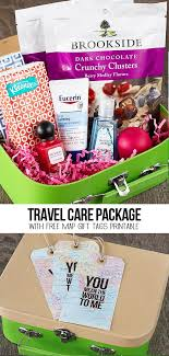 travel gift basket a sweet travel themed care package with free map gift tags that