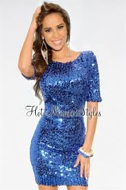 royal blue all over high shine sequined short sleeves dress