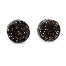 glitter stud earrings jackdaw jewellery black and gold glitter stud earrings
