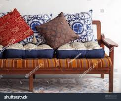 wooden vintage sofa asian style blue stock photo 634140233