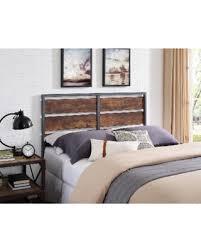 deal alert queen size rustic metal and wood plank headboard brown