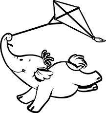 cute elephant kite fly cartoon picture wecoloringpage