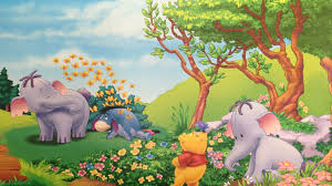 winnie the pooh eeyore and elephant heffalump summer flowers