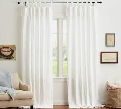 White Tie Curtains Textured Cotton Tie Top Drape Pottery Barn