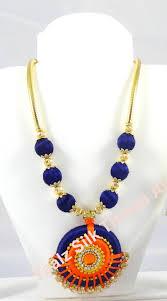 yaalz silk thread traditional necksets in dark blue with orange color