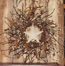 twig home decor barn star wreath twig berry wreath country primitive decor