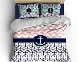Blue And Coral Bedding Anchor Bedding Etsy