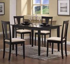 Cheap White Dining Room Sets Furniture Rectangle Black Glass Dining Table And Four Black