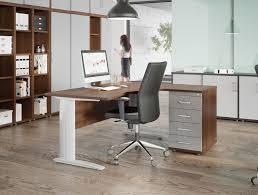 Office Desk Walnut Komo Cable Managed Cantilever Wave Desk In Walnut