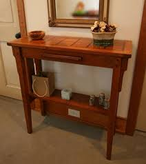 hand made solid cherry hall table with walnut accents by moss farm