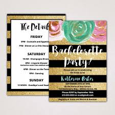 gold and black bachelorette party invitation with itinerary