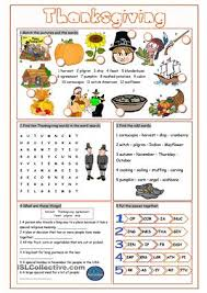 thanksgiving vocabulary exercises after school activities
