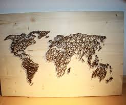 Map Art String Art World Map Barn Door Wood Wall Decor By Rambleandroost