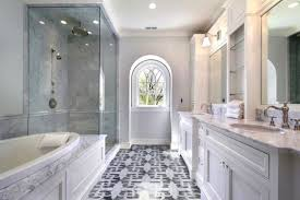beautiful white marble tile bathroom shower with black dornbracht