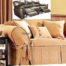 Slipcover For Dual Reclining Sofa Reclining Sofa Slipcover Corduroy Camel Leather Trim Adapted Dual