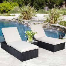 goplus 3 piece rattan chaise lounge chair set patio steel