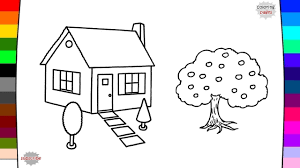 garden house coloring page drawing and coloring baby kids