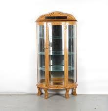 Oak Curio Cabinets Half Moon Oak Curio Cabinet Ebth
