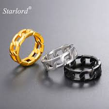 chain rings jewellery images Cuban link chain ring gold black color size 7 8 9 10 11 12 chunky jpg
