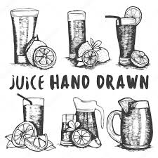 vector set of hand drawn fruit juice glass sketch cocktails and