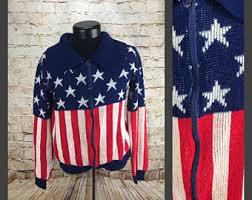 American Flag Cardigan American Flag Sweater Etsy