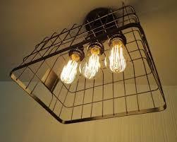 Edison Ceiling Light Basket Ceiling Light Shown With Edison Bulbs The Lamp Goods