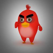 3d asset angry bird red bird mood breaker cgtrader