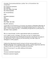 sample recommendation letter for co worker promotion cover