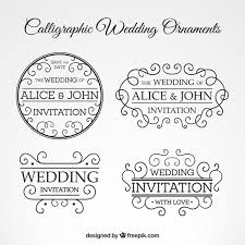 calligraphic wedding ornaments set vector free
