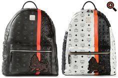 designer rucksack damen mcm rucksack in schwarz weiß beige mit nieten für damen