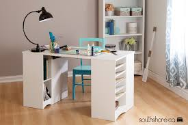 South Shore Computer Desk South Shore Artwork Craft Table With Storage Pure White Ebay