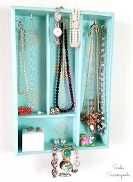 diy jewelry organizer holder with a repurposed silverware tray