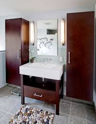 spa bathrooms designs remodeling htrenovations rich cherry cabinetry contrasts with lighter tones within the glass tile and natural stone used throughout the space creates a spa like feeling in this
