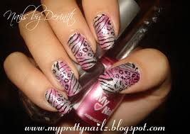 my pretty nailz pink and silver sponge gradient animal print