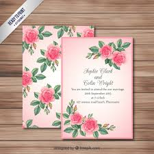 marriage invitation card pink wedding invitation card vector premium