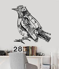 vinyl wall decal steampunk bird mechanical art stickers 284ig