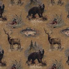 Tapestry Upholstery Fabric Australia Bears Fish Ducks Deer And Trees Themed Tapestry Upholstery Fabric