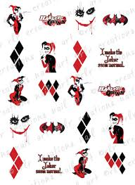 20 nail transfer decals dc harley quinn water