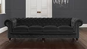 Seater Ashes Black Italian Velvet Chesterfield Sofa UK - Chesterfield sofa uk