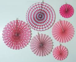 hanging paper fans my party suppliers baby shower pink fan decorations 6pcs