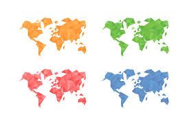 World Map Haiti by Polygons World Map Illustrations Creative Market