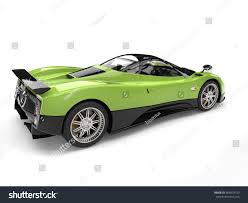 pagani zonda side view fluorescent green modern super car side stock illustration