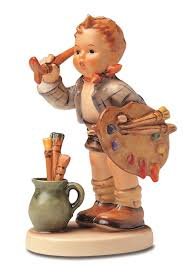 m i hummel the artist boy painting german porcelain figurine