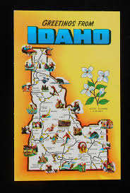 Idaho State Map by 1960s State Map Of Idaho Landmarks Icons Id Postcard Ebay